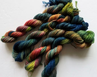 Hand Dyed SW Merino/Nylon 2-Ply Sock (Silver Sparkle) -- Mini Skeins 20 Grams/87 Yards -- Ratchet AF or Feral Child