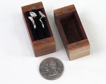 Walnut Ring Box, One Ring Box, Two Ring Box, Proposal Ring Box, Wedding Ring or Ring Bearer Box