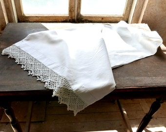 Pair of Antique Linen Pillow Cases With Crochet Lace