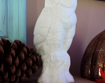 White Glittered Snowy White Owl Figurine, Owl Decor, Thanksgiving Decor
