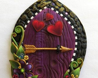 Love Bug Valentine Fairy Door, Heart Pixie Portal, Holiday Decor