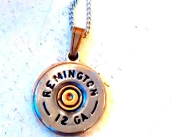 Bullet necklace Remington Bullet  shotgun shell jewelry 12 gauge  casing necklace cowgirl mixed metals