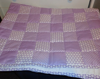 Lavender /Purple Baby Toddler Patchwork Handmade Quilt