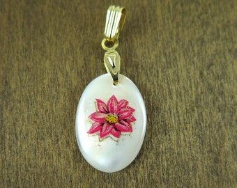 Vintage Gold Plated Mother Of Pearl Oval Charms with Pink Flower Decal (2X) (NS515)