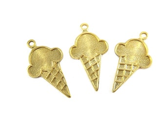 Brass Ice Cream Cone Charms - (8x) (M866)