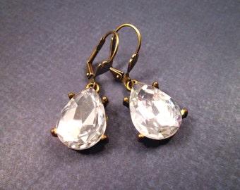 Rhinestone Earrings, White Glass Drop Earrings, Brass Dangle Earrings, FREE Shipping U.S.