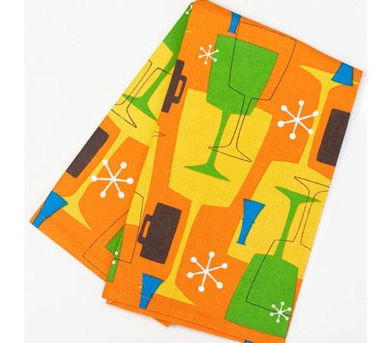 Retro Inspired Tea Towel Orange Cocktail