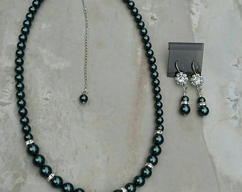 Swarovski Tahitain Pearl Necklace and Earrings