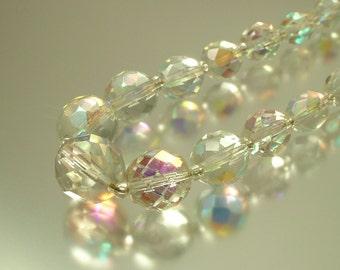 Vintage/ estate 1950s glam, single row, aurora borealis crystal bead necklace with paste set clasp. Costume jewelry jewellery, UK seller