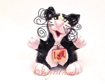 Cat Ring Holder Figurine Black and White Kitty With Scrabble Tile Pendant CTS0001