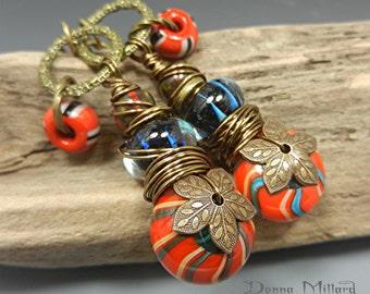 SRA Handmade LAMPWORK EARRINGS glass beads Donna Millard boho tribal orange red blue hippie hip primitive bohemian gift her
