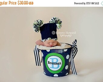 ON SALE 10 Quart Personalized Bucket with Added Polka Dots