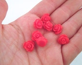 10mm round floral rose cabochons, red, pick your amount