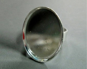 18x25mm silver plated bezel adjustable ring bases, pick your amount, A190