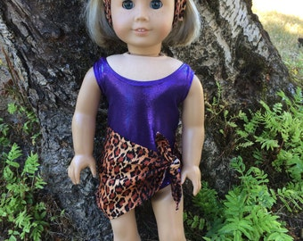 American Girl Doll Clothing Purple Swimsuit Sarong Totebag