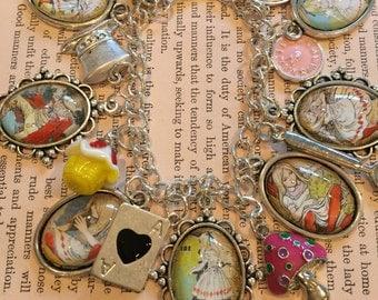 Pretty Alice Bracelet, Alice in Wonderland Charm Bracelet, Alice Charm Bracelet, Alice in Wonderland Bracelet, Alice in Wonderland Gift