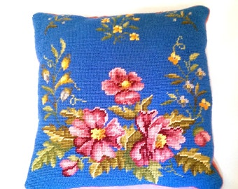 Vintage needlepoint pillow with floral design