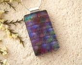 Jewel Tone Necklace, Dichroic Jewelry, Fused Glass Jewelry, Purpe Blue Magenta, Glass Jewelry, Glass Necklace, Chain Included, 111715p100