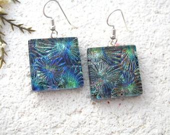 Large Jewel Tone Earrings, Dangle Drop Earrings, Dichroic Earrings, Fused Glass Earring, Fireworks Earrings, Fused Glass Jewelry, 080616e102