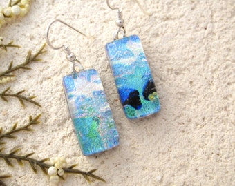 Aqua Pink Blue Dangle Earrings, Dichroic Earrings, Fused Glass Jewelry, Glass Earrings, Dichroic Jewelry, Sterling Earrings, 022516e106