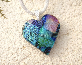 Blue Purple Pink Heart, Dichroic Jewelry, Silver Necklace, Black Heart Pendant, Heart Jewelry, Fused Glass Jewelry, Contemporary, 041916p106