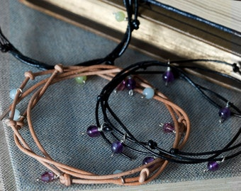Leather and Semi Precious Wrap Bracelet