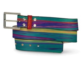 Dr. Who Leather Belt, Dr. Who Belt, Colorful Leather Belt, Colorful Wash Belt, Colorful Belt Leather