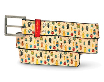 Beetles Leather Belt, Bug Belt, Leather Belt Insect Creepy Colorful