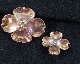 Vintage Handmade Copper Dogwood Brooch Pin Stuart Nye Silver Shop x 2