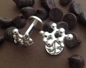 Theobromine Molecular Cufflinks in solid sterling silver