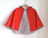 Little Red Riding Hood Cape with Solid Gray or Chevron Lining | Baby, Toddler, Girls Cape - Sizes Newborn to Girls 9/10 - Cape, Cloak, Coat
