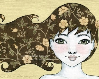 Arya - Mixed media original art - Girl with flower hair and green eyes portrait