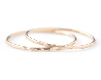 2 EXTRA Skinny gold filled stacking ring set - delicate gold rings - faceted hammered texture - thin rings - gossamer ring / Silk 0.8mm