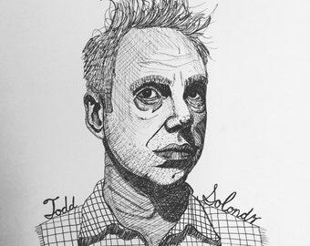 Todd Solondz 9x12 original ink line drawing