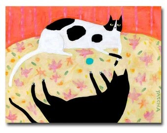 ORIGINAL cat folk art painting TURQUOISE BALL stand off with black cat and spotted cat on floral tablecloth acrylic painting by Tascha