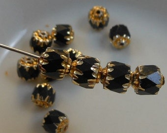 Cathedral Beads Czech Glass Fire Polish Black with Gold (Qty 12) 6mm SRB-6FPC-BLK-G