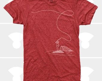 Fly Fishing Shirt, Fishing Shirt, Fishing Gift, Hipster, Men's Clothes, Colorado, Alaska, Lumberjack, Red, Fly Rod, Men's Fly Fishing TShirt