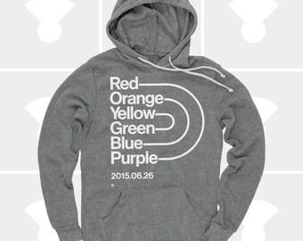 Gay Rights Shirt, Love Wins, Gay Pride, Rainbow Pride, Men's Hoodie, Gay Marriage, Grey Pullover Hoodie, Typography, Marriage Equality
