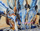 """Original Horse Friends Oil Panting 20""""x24"""" painted by knife by me Sandra Spencer"""