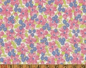 Vintage Feedsack Fabric - Pink Dogwoods - Flour Sack Quilting Cotton 1940s 1930s