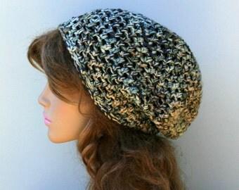 Washable Wool hat, slouchy beanie, small dread tam, hippie snood hat, slouch beanie, baggy beanie slouchy hat, woman beanie, man slouchy hat
