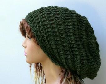 Slouchy dread tam, Khaki green pure hemp Hippie Bohemian slouchy beanie, dreadlocks head gear, woman slouchy hat, beanie hat, pure hemp