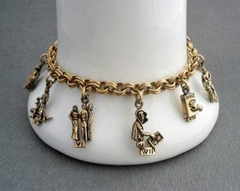 Vintage Coro Charm Bracelet - Ten Commandments - Religious Charm Bracelet - Gold Tone - 1955