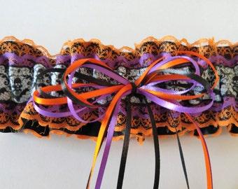 Orange•Purple•Black Skull Garter• Halloween Garter•Autumn Garter•Wedding•Costume•Party•Bachelorette•Prom•Bat Garter•Spider Web Garter•Bride