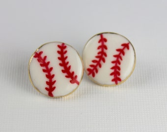Baseball Earrings Handmade Porcelain Clay Stud Earrings