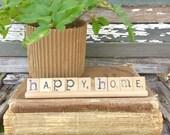 HAPPY HOME Vintage Scrabble Sign