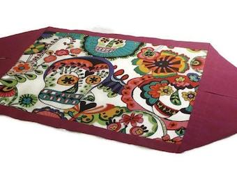 Sugar Skulls Table Runner, Sugar Skull Placemat, Mexican Decor, Dia de los Muertos, Day of the Dead, Mexican Table Runner, Mexican Folk Art