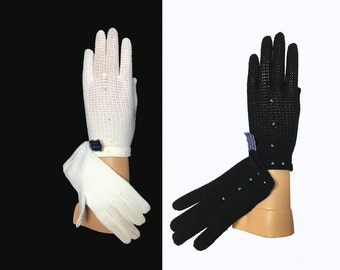 Women's Vintage Gloves, 1960's, Beaded, Nylon Stretch Knit, Wrist Gloves, Winter Gloves, Made in Italy, Black or White, One Size, Dead Stock