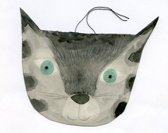Handsome Cat hand painted hanging ornament original art