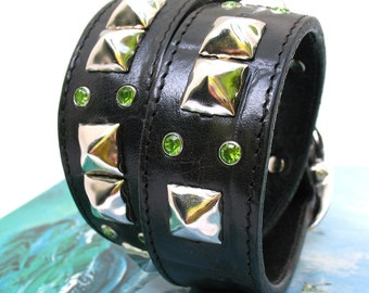 Black Leather Dog Collar with Silver Studs and Green Sparkles, Size M/L, to fit a 16-19 Neck, EcoFriendly, Heavy Duty, OOAK